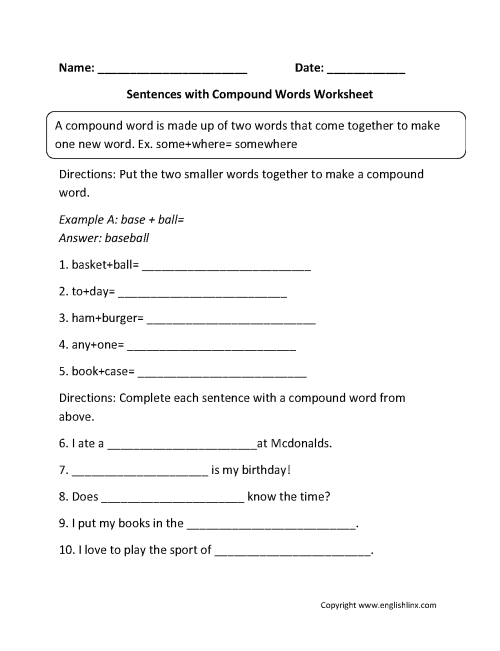 small resolution of Englishlinx.com   Compound Words Worksheets