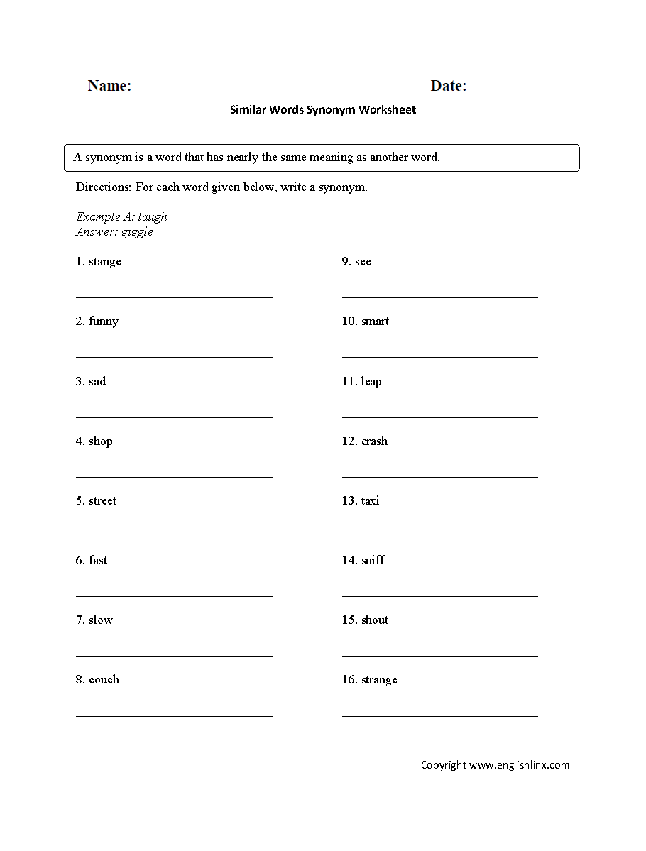 hight resolution of Vocabulary Worksheets   Synonym and Antonym Worksheets