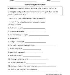 Figurative Language Worksheets   Simile Worksheets [ 1199 x 910 Pixel ]