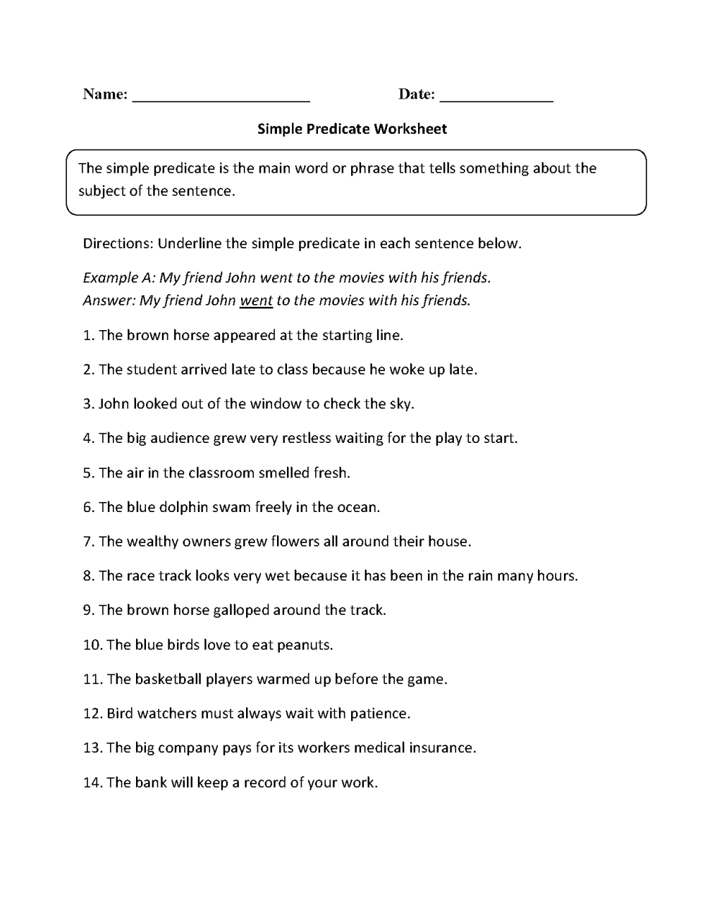 medium resolution of Englishlinx.com   Subject and Predicate Worksheets