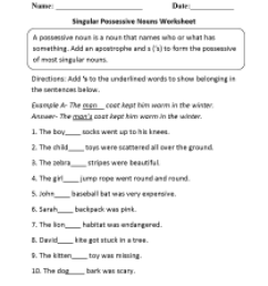 Nouns Worksheets   Possessive Nouns Worksheets [ 1650 x 1275 Pixel ]