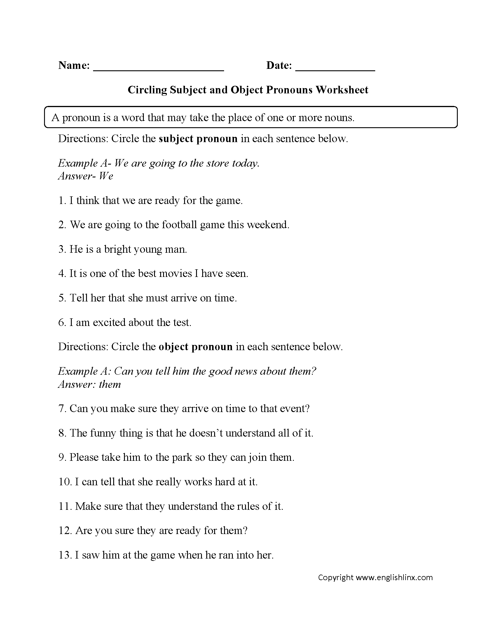 hight resolution of Pronouns Worksheets   Subject and Object Pronouns Worksheets