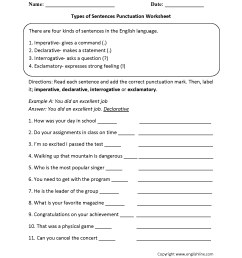 Types of Sentences Worksheets   Types of Sentences with Punctuation  Worksheet [ 2200 x 1700 Pixel ]