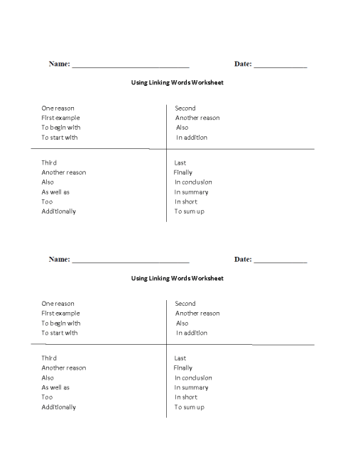 small resolution of Writing Worksheets   Linking Words Worksheets