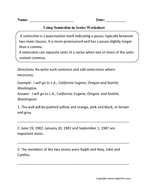 small resolution of Punctuation Worksheets   Semicolon Worksheets