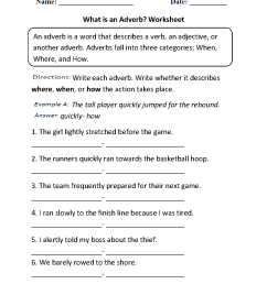 Parts Speech Worksheets   Adverb Worksheets [ 1342 x 1012 Pixel ]