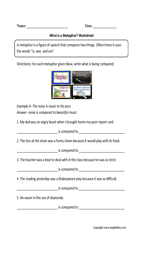 small resolution of Figurative Language Worksheets   Metaphor Worksheets