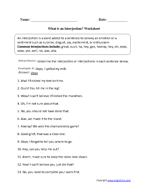 small resolution of Englishlinx.com   Interjections Worksheets