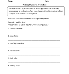 Figurative Language Worksheets   Oxymoron Worksheets [ 1662 x 1275 Pixel ]