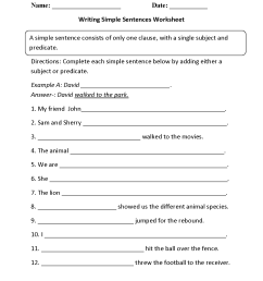 Sentences Worksheets   Simple Sentences Worksheets [ 1650 x 1275 Pixel ]