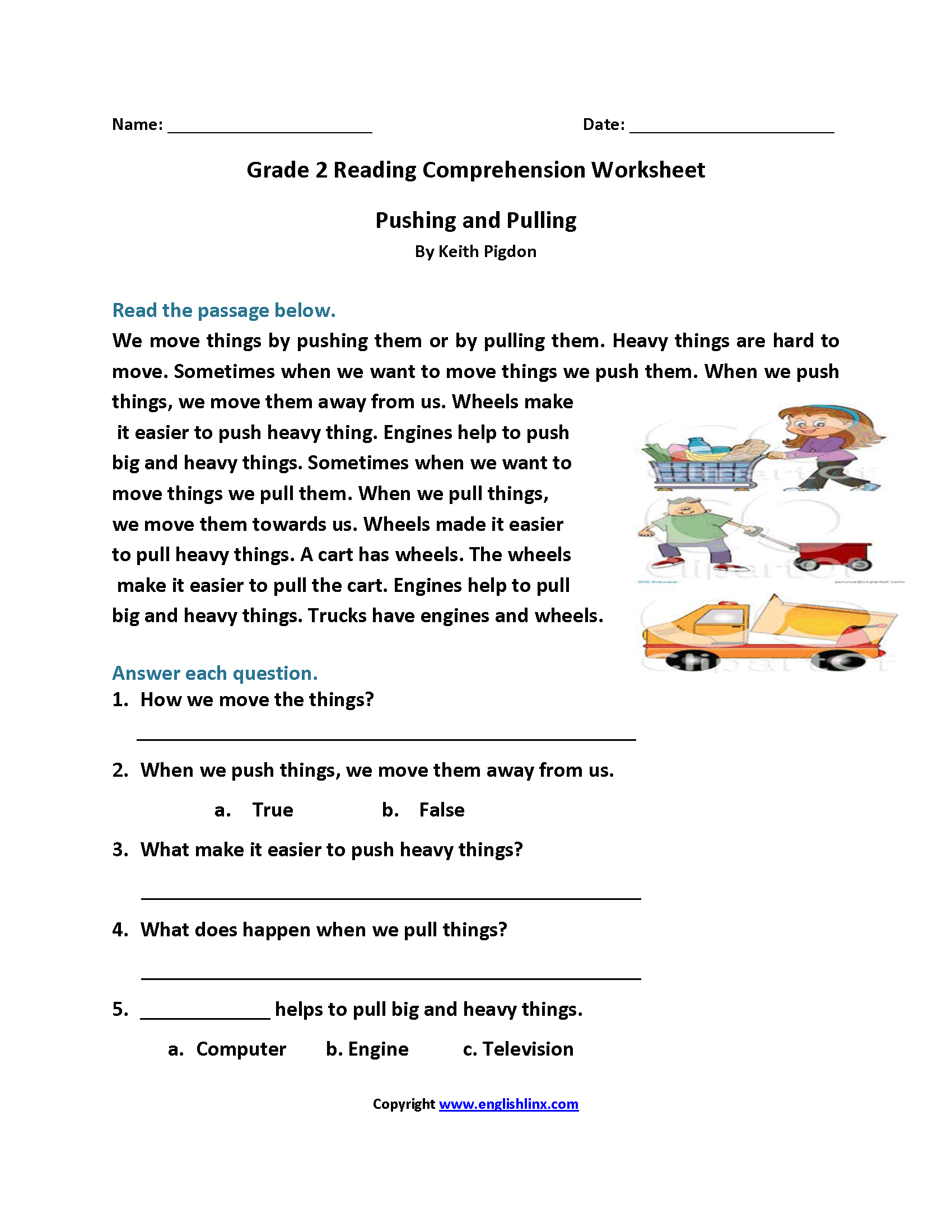 Second Grade Reading Comprehension Worksheets