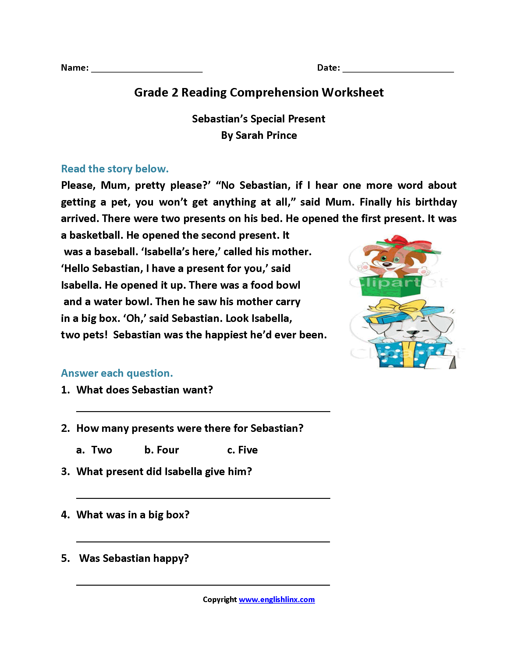 Free Online Reading Comprehension Worksheets For 2nd Grade