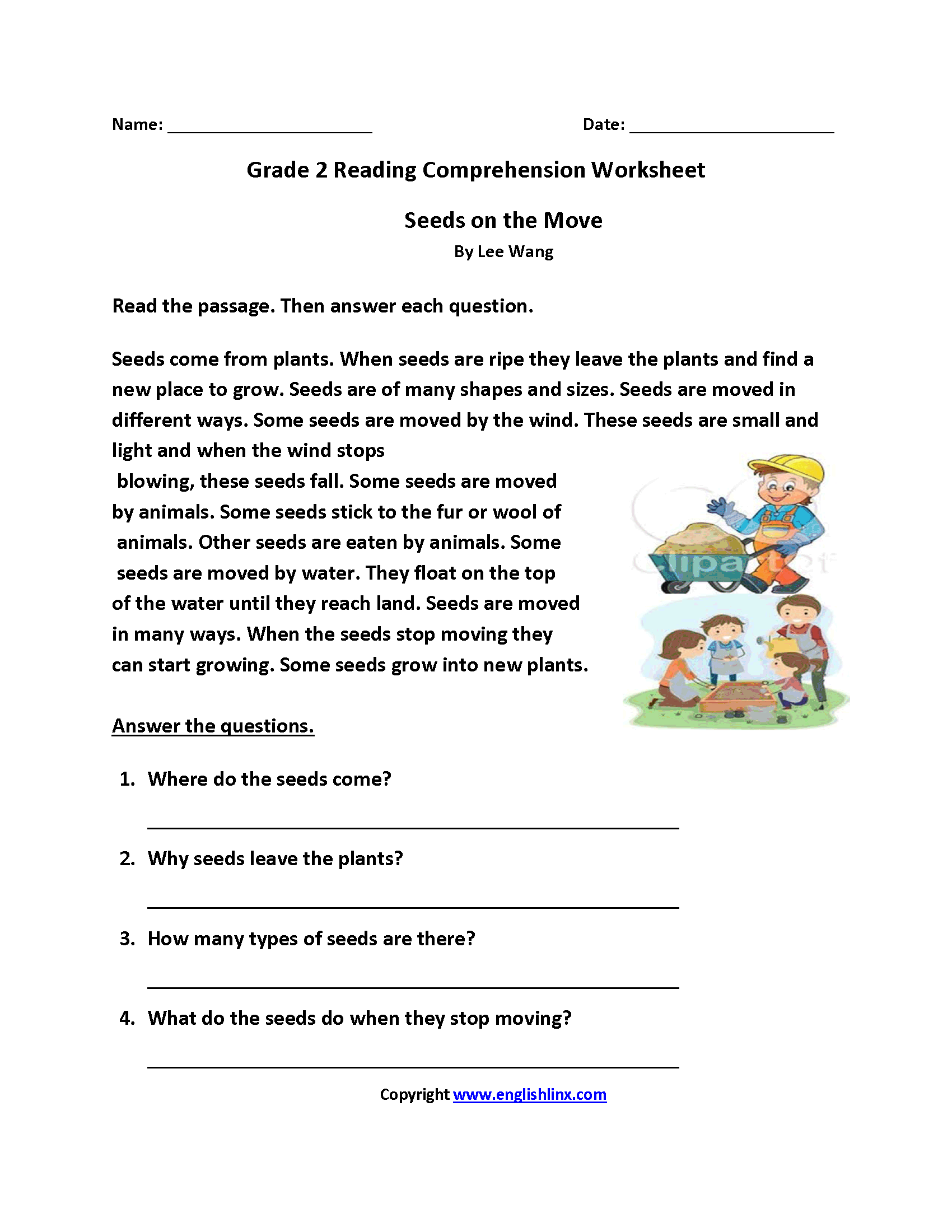 Comprehension Passages For 2nd Grade