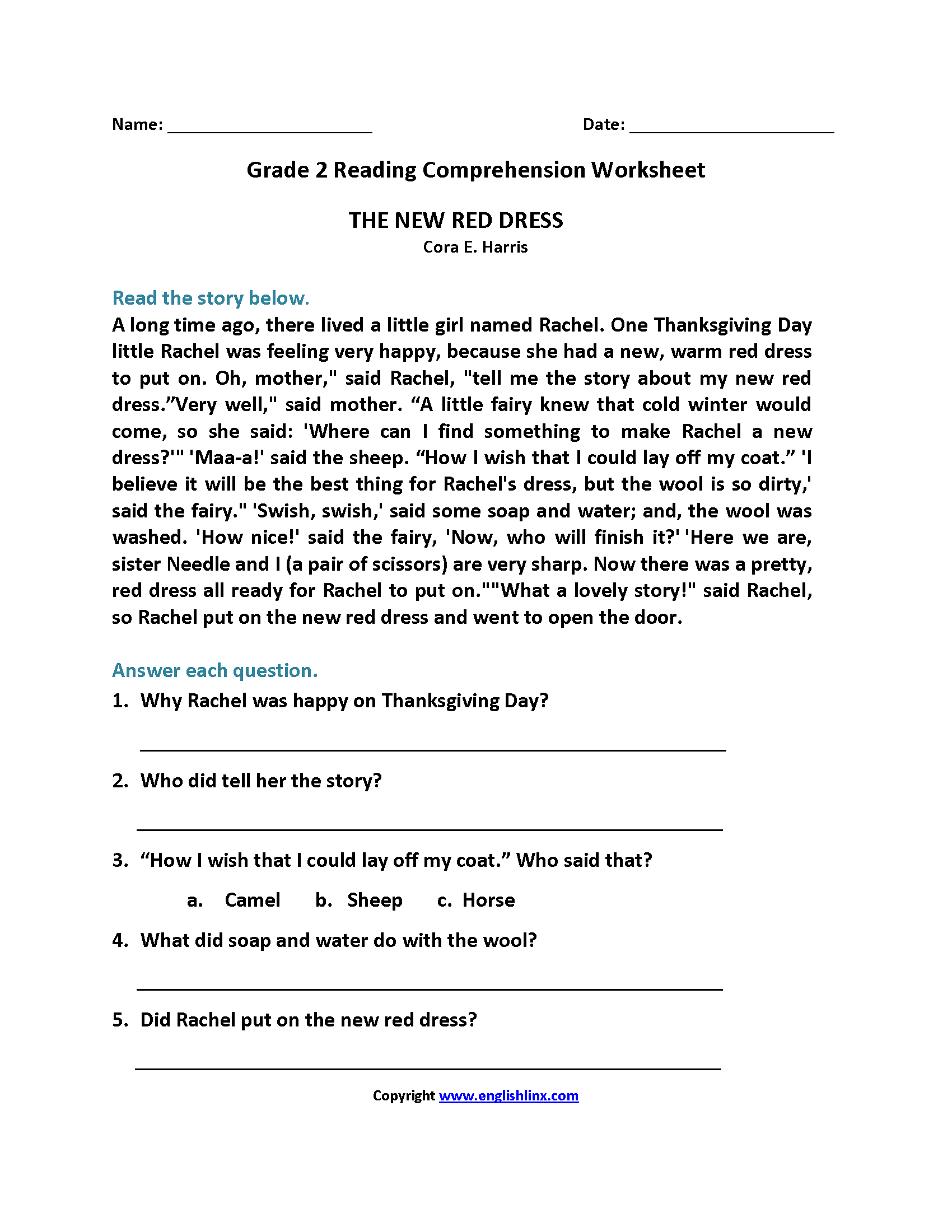 Grade Two Literacy Worksheets