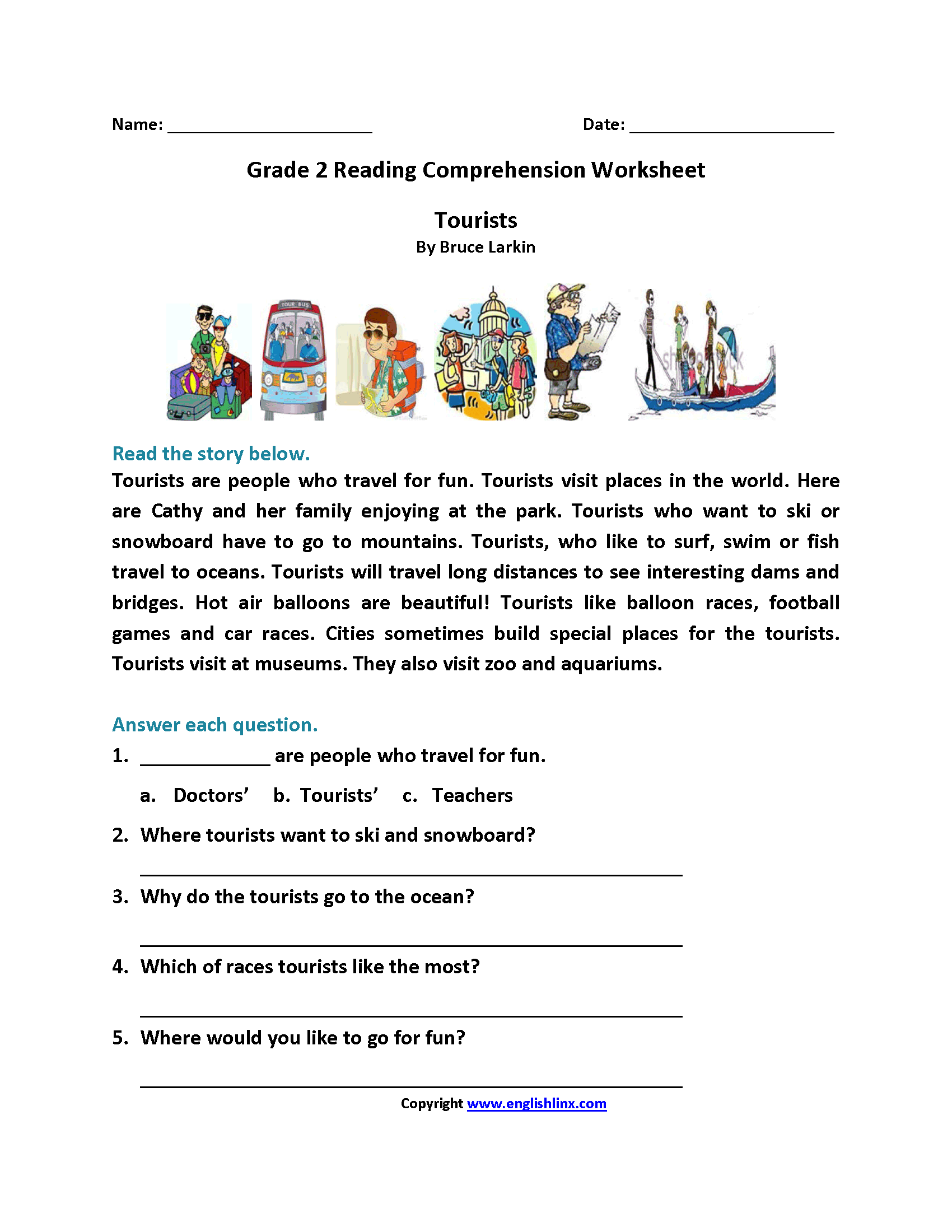Reading Comprehension Worksheet Grade 2