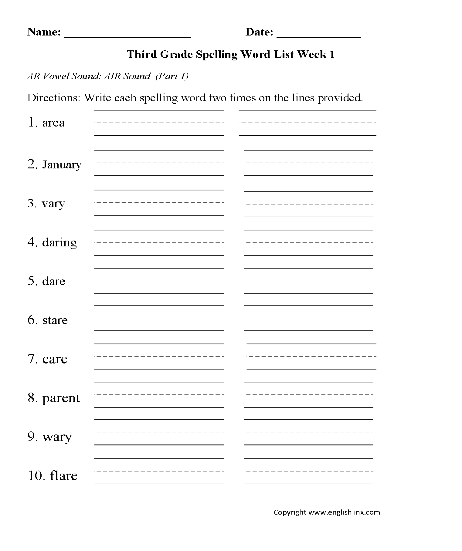 hight resolution of Spelling Worksheets   Third Grade Spelling Words Worksheets