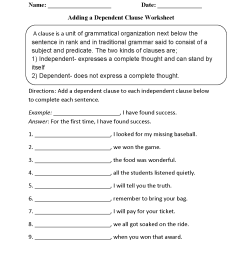 Clauses Worksheets   Adding a Dependent Clause Worksheet [ 1650 x 1275 Pixel ]