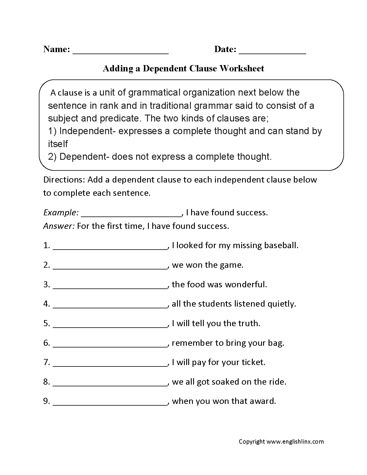 hight resolution of Clauses Worksheets   Adding a Dependent Clause Worksheet