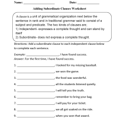 Clauses Worksheets   Adding Subordinate Clauses Worksheet [ 1650 x 1275 Pixel ]