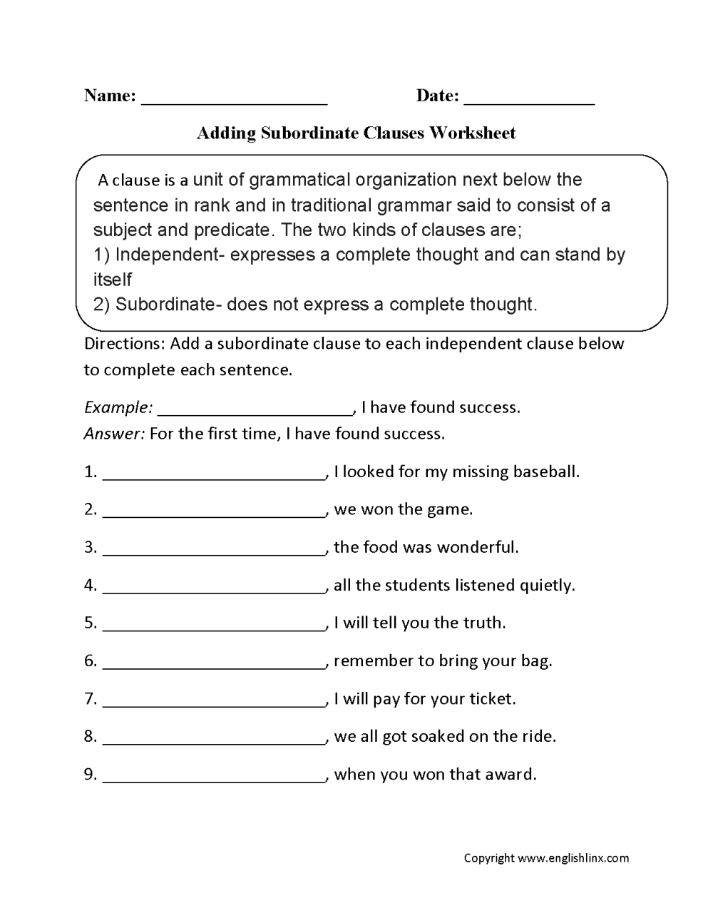 medium resolution of Clauses Worksheets   Adding Subordinate Clauses Worksheet