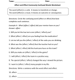 Commonly Confused Words Worksheets   Affect and Effect Commonly Confused  Words Worksheets [ 1662 x 1275 Pixel ]