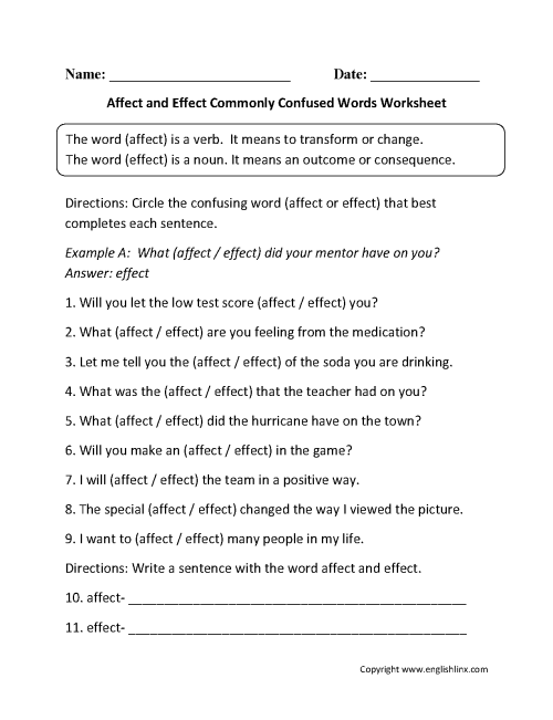 small resolution of Commonly Confused Words Worksheets   Affect and Effect Commonly Confused  Words Worksheets