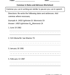 Commas Worksheets   Commas in Dates and Addresses Worksheet [ 1331 x 1003 Pixel ]