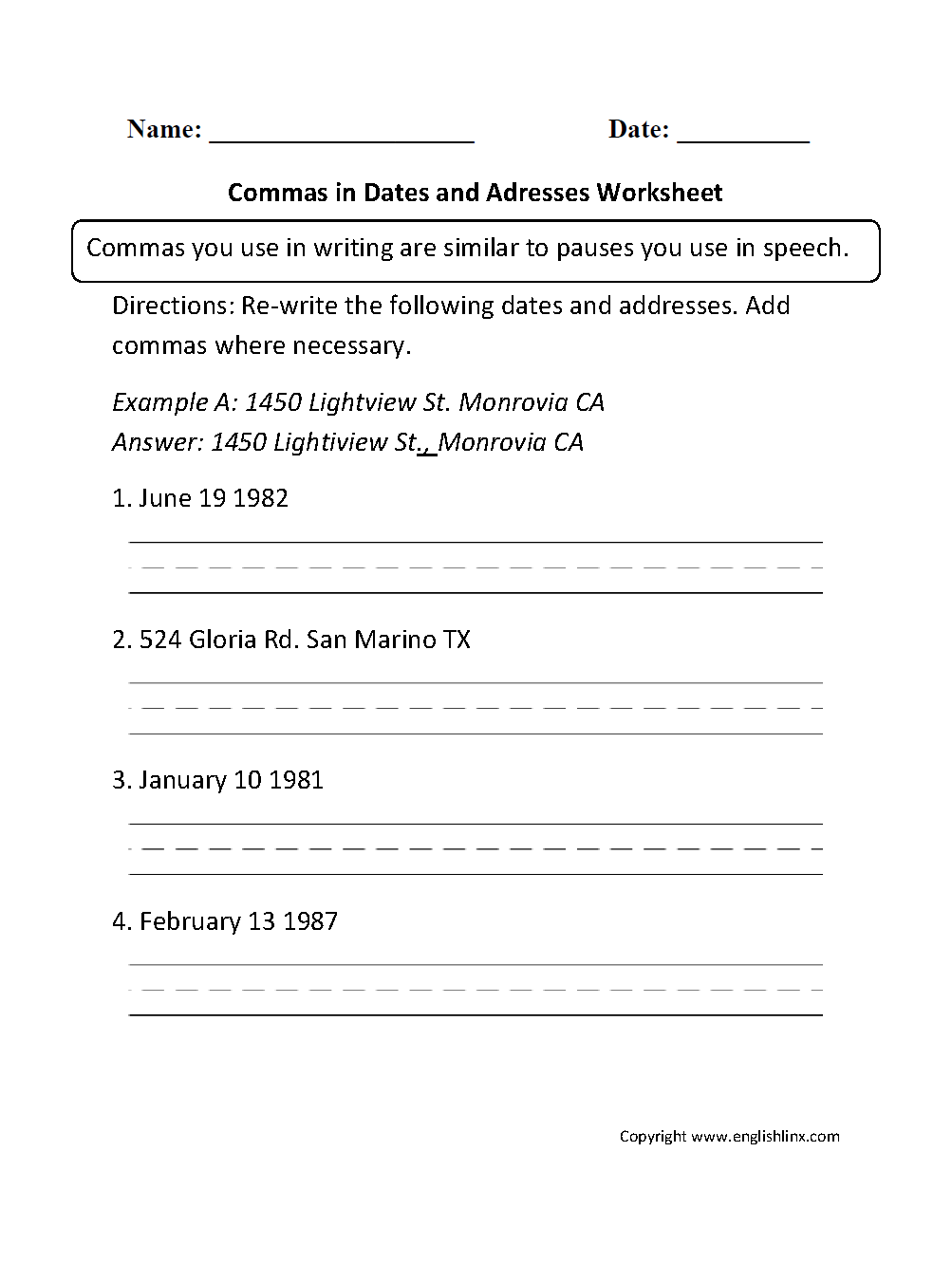 hight resolution of Commas Worksheets   Commas in Dates and Addresses Worksheet
