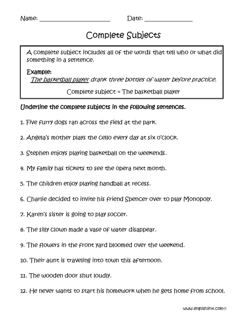 small resolution of Subject and Predicate Worksheets   Complete Subjects Worksheets
