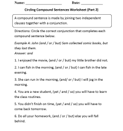 Compound Sentences Worksheets   Circling Compound Sentences Worksheet Part 2 [ 2200 x 1700 Pixel ]