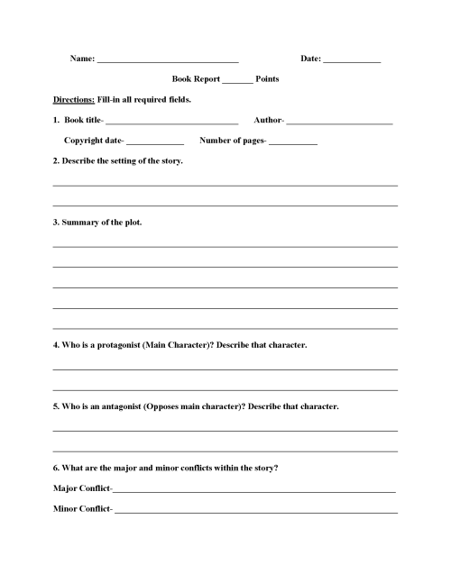 small resolution of Book Report Worksheets   High School Book Report Worksheets