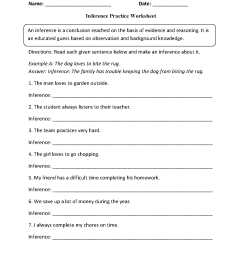 Inference Worksheets   Inference Practice Worksheet [ 1662 x 1275 Pixel ]