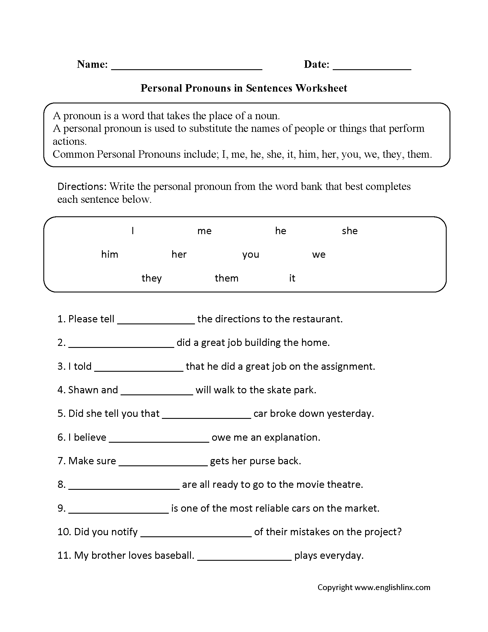 hight resolution of Personal Pronouns Worksheets   Personal Pronouns in Sentences Worksheets