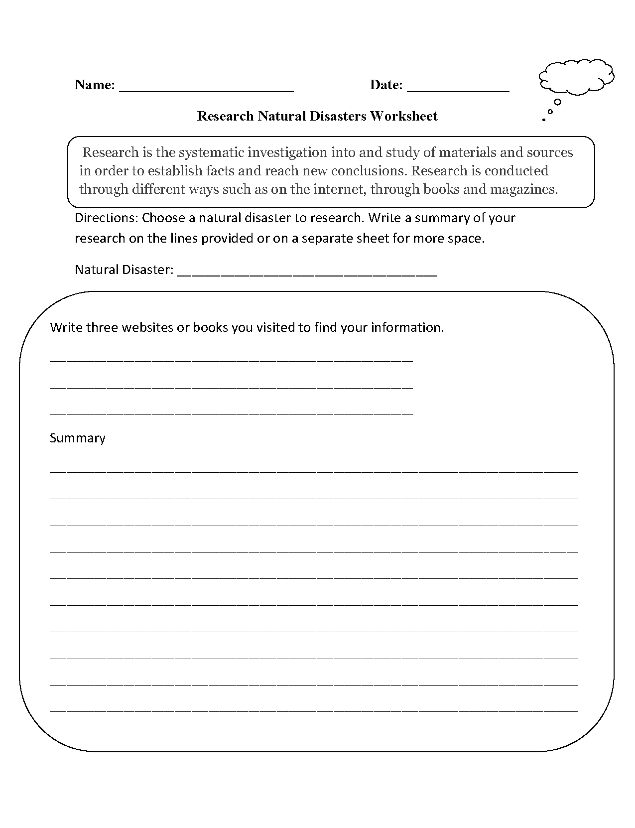 hight resolution of Research Worksheets   Research Natural Disasters Worksheet