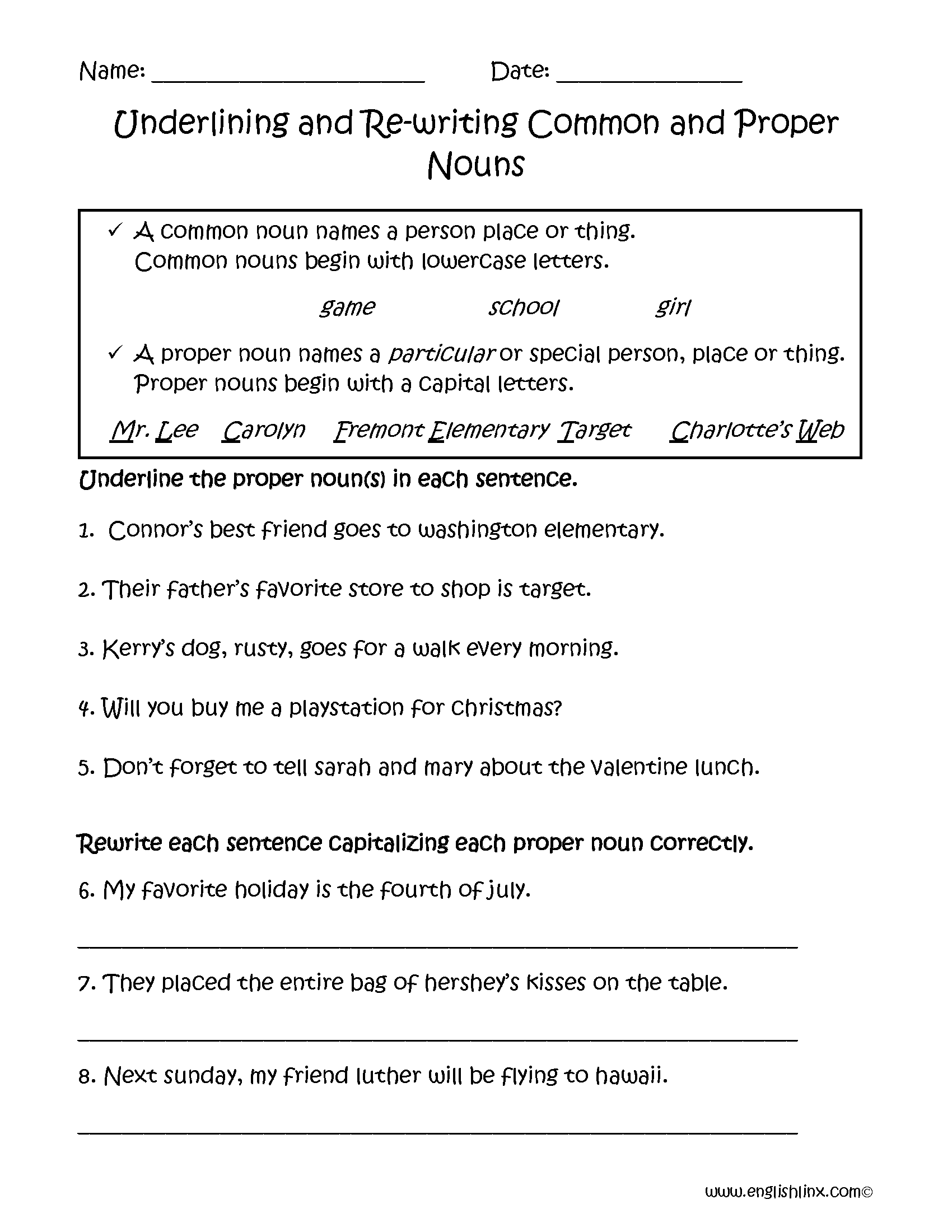 hight resolution of Proper and Common Nouns Worksheets   Underlining and Rewriting Proper and  Common Nouns Worksheets