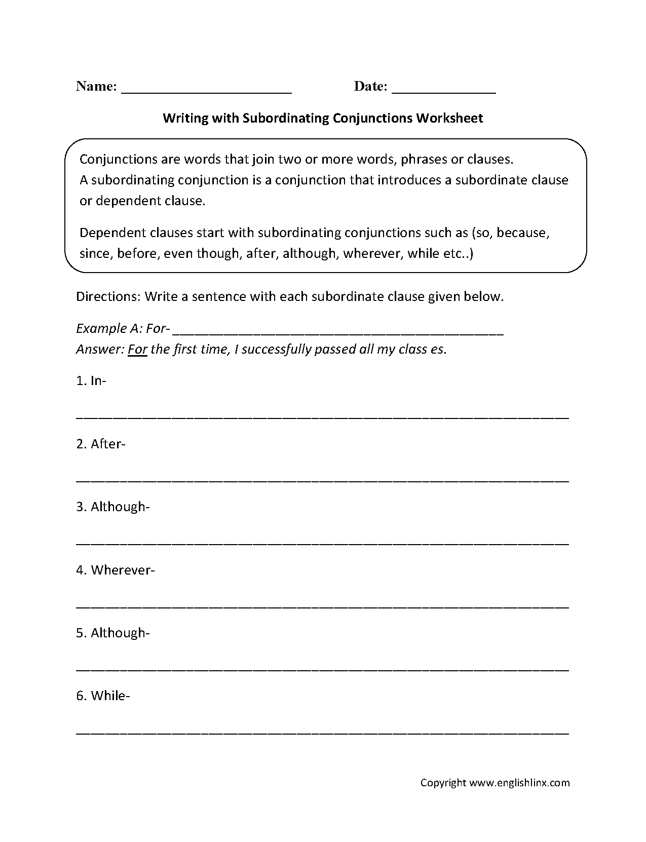 hight resolution of Conjunctions Worksheets   Writing with Subordinating Conjunctions Worksheets