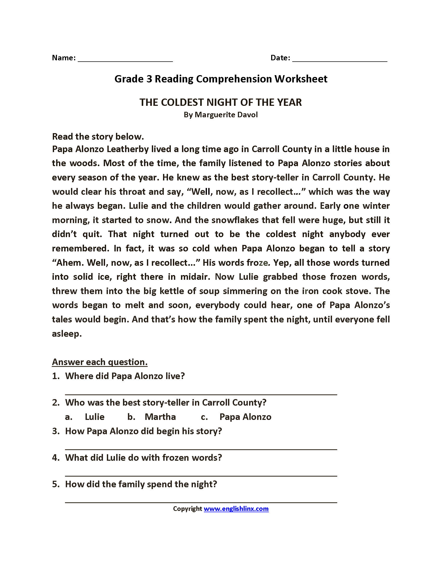 Comprehension Worksheet Year 3 Free