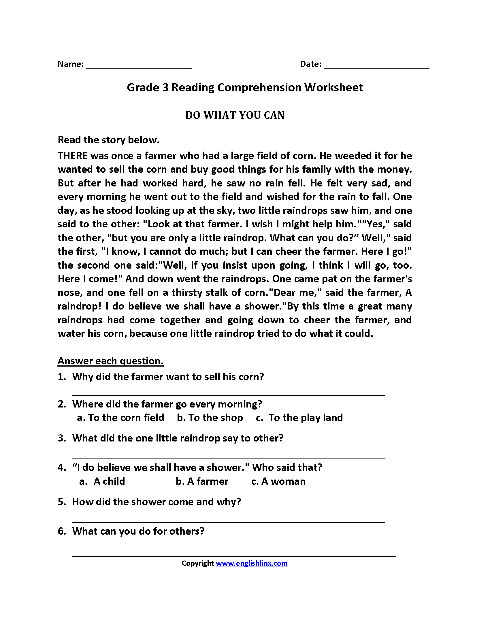 Comprehension Year 3 Worksheet Free