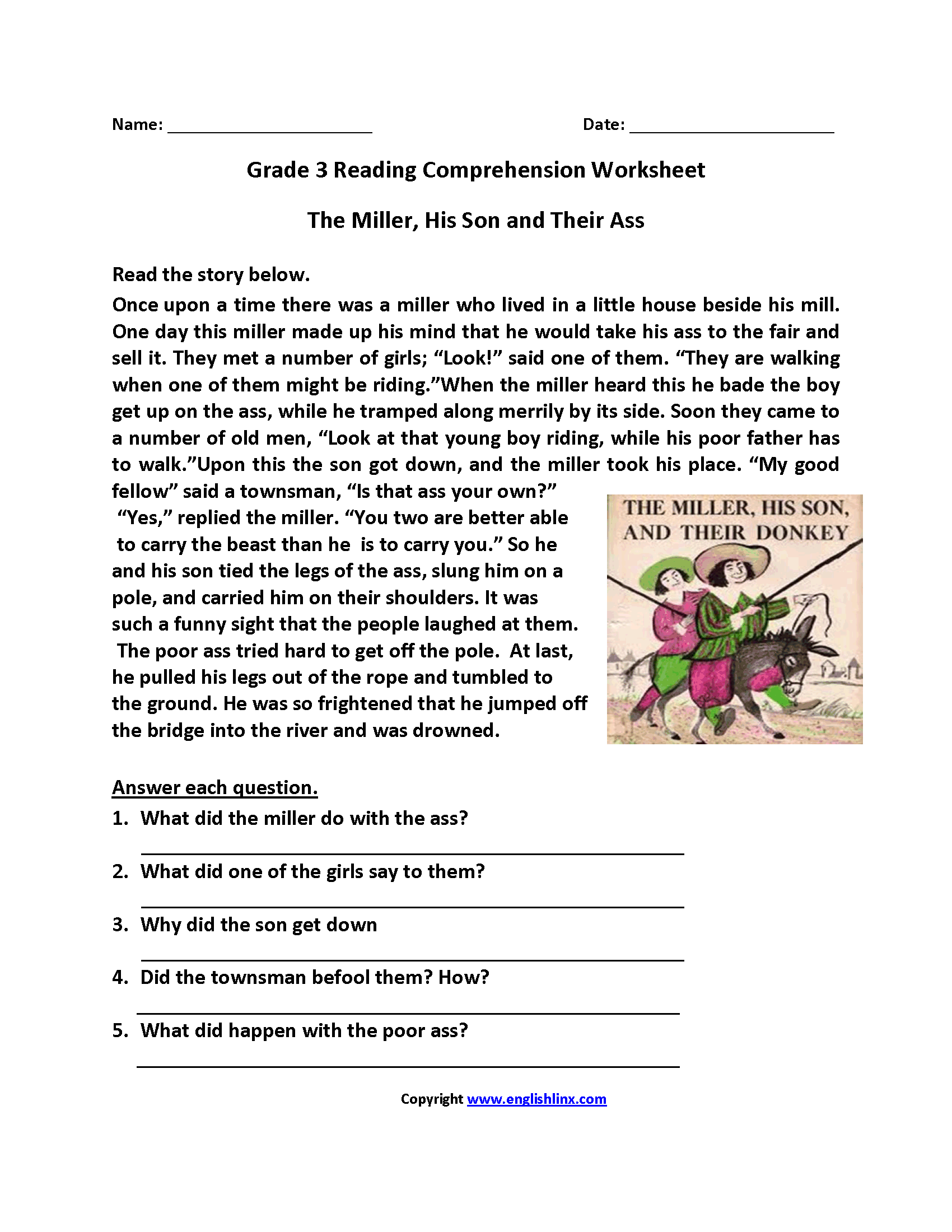 Comprehension Worksheets For Grade 3