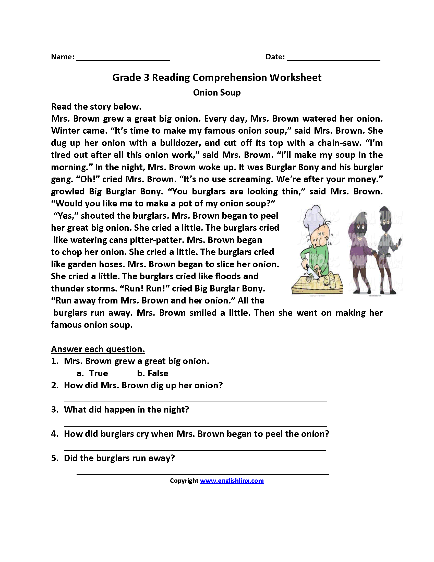 Printables Of Third Grade Reading Comprehension Activities