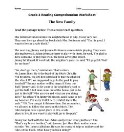 Reading Worksheets   Third Grade Reading Worksheets [ 1650 x 1275 Pixel ]