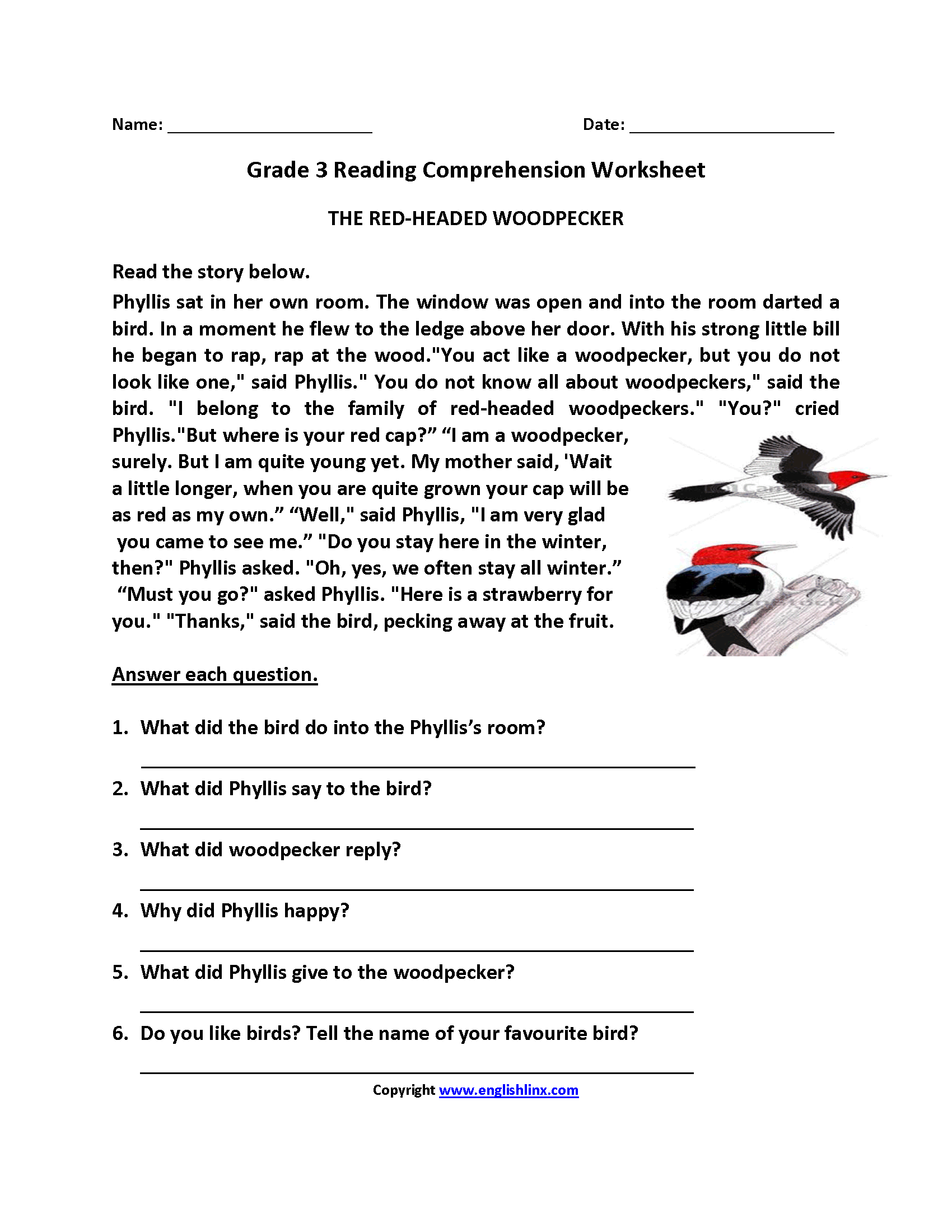 Worksheet On English Comprehension For Grade 3