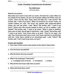 Reading Worksheets   Third Grade Reading Worksheets [ 2200 x 1700 Pixel ]