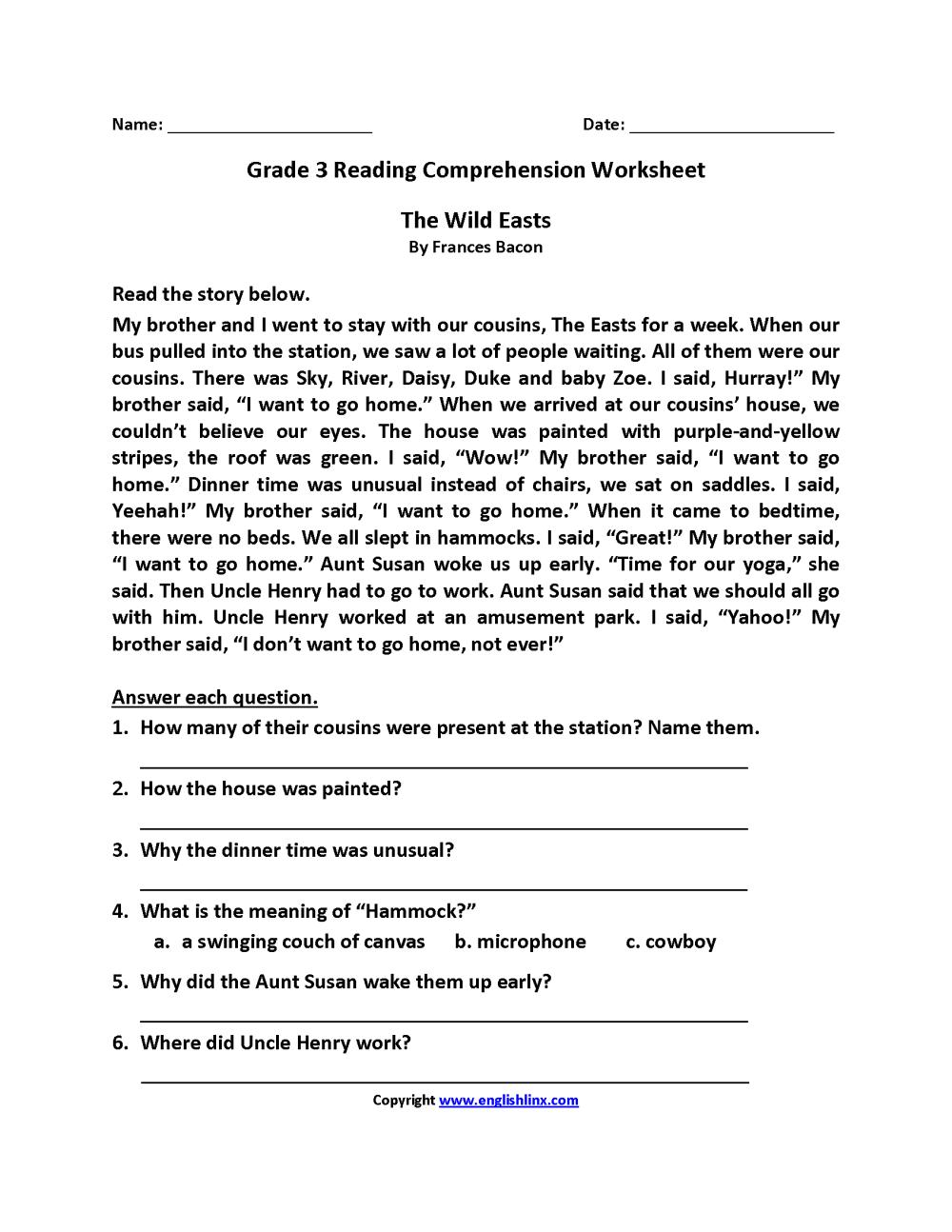 medium resolution of Reading Worksheets   Third Grade Reading Worksheets