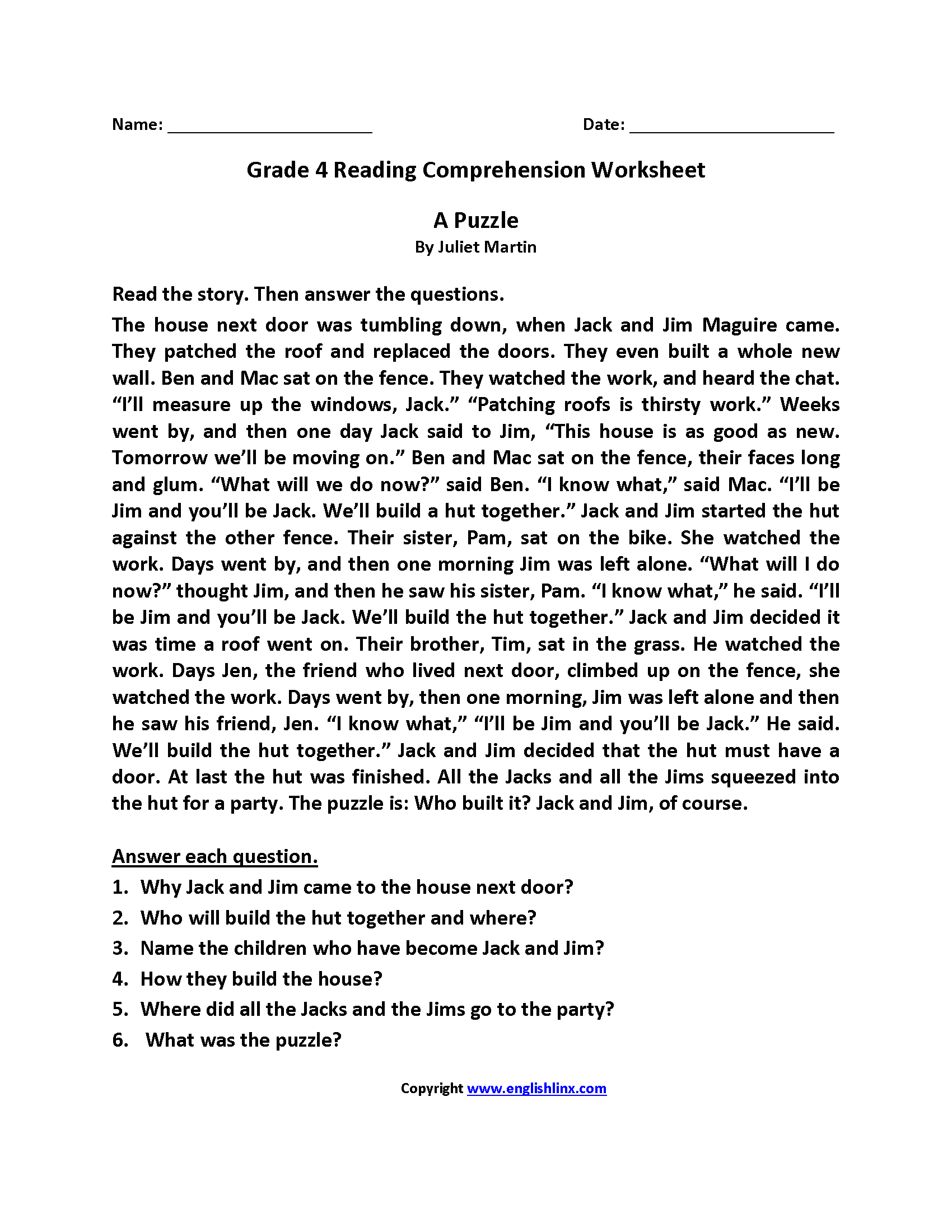 Worksheets 4th Grade Comprehension Worksheets