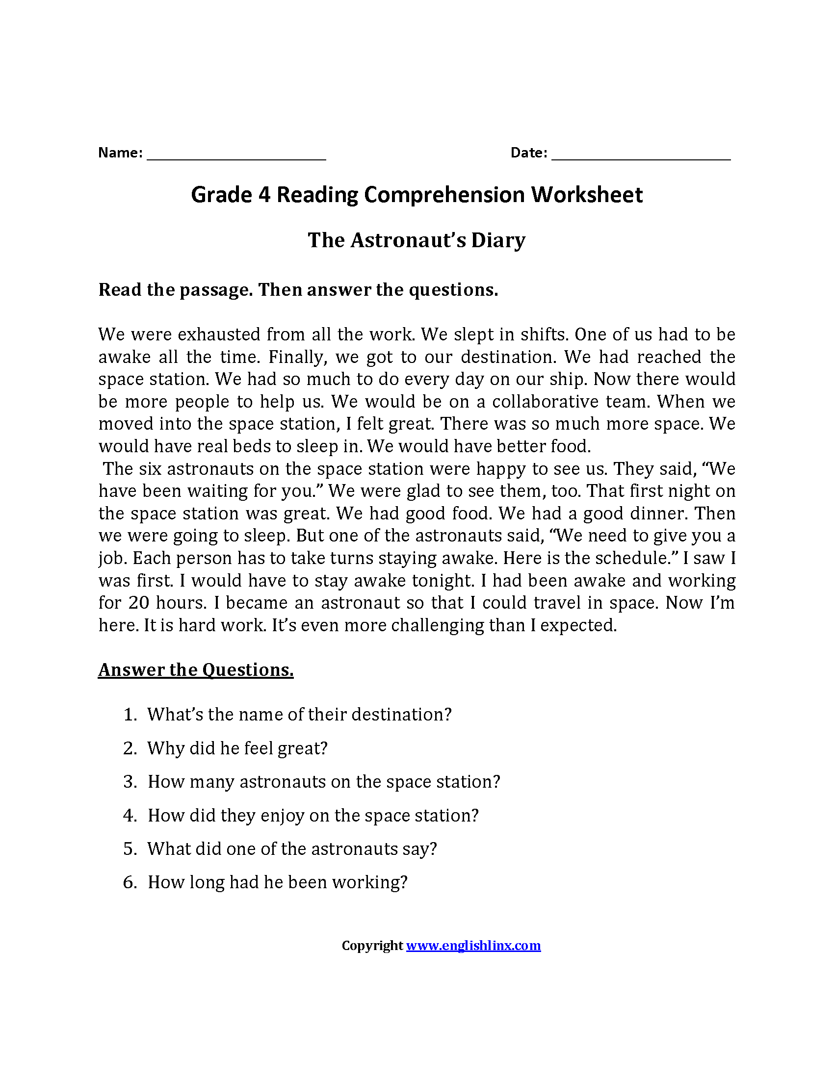 Small Comprehension Passages For Grade 3