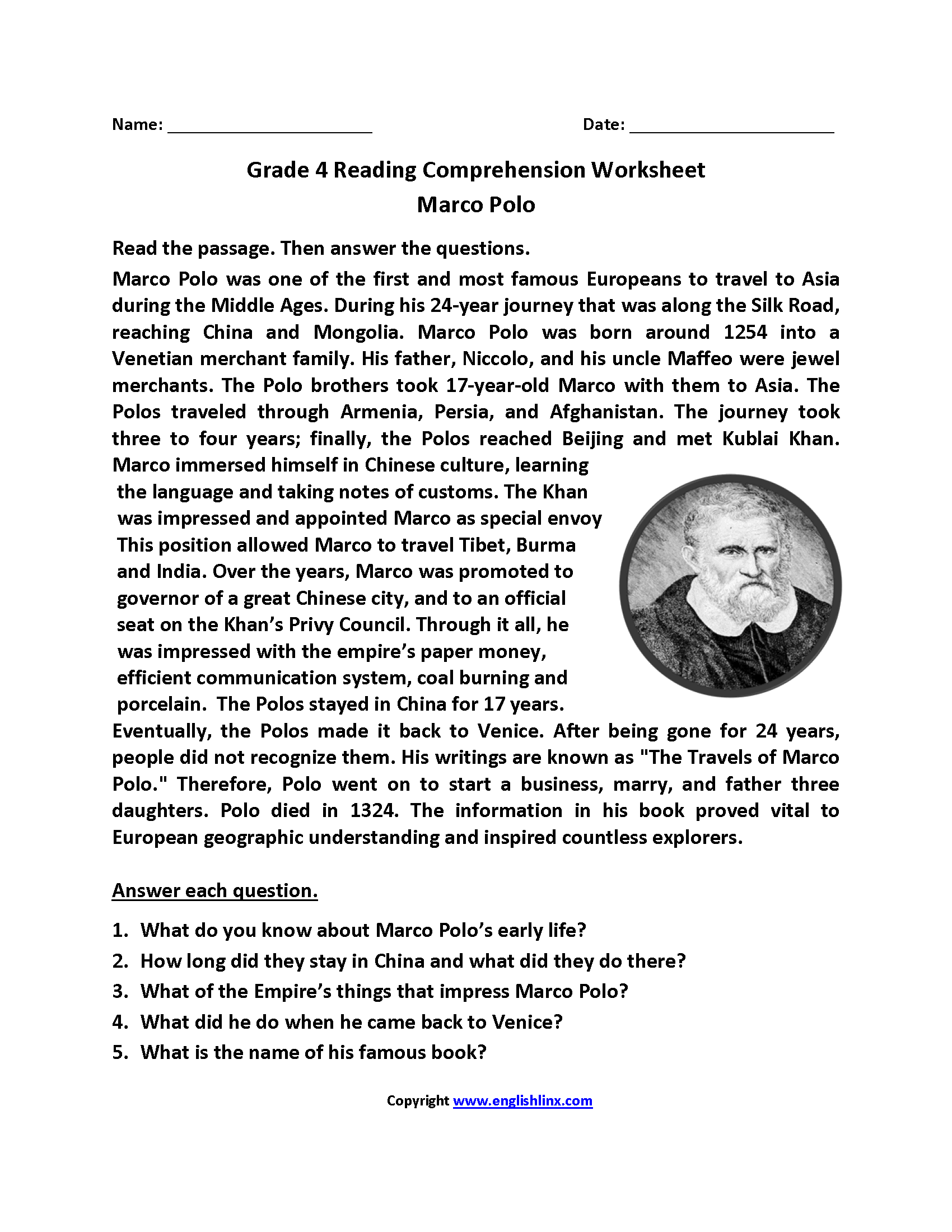 4th Grade Reading Comprehension Printable Worksheets