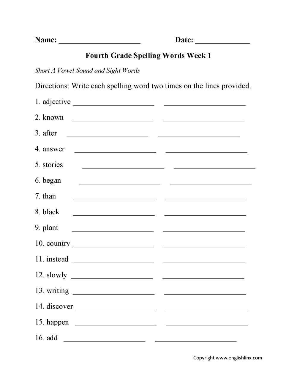 medium resolution of Spelling Worksheets   Fourth Grade Spelling Worksheets