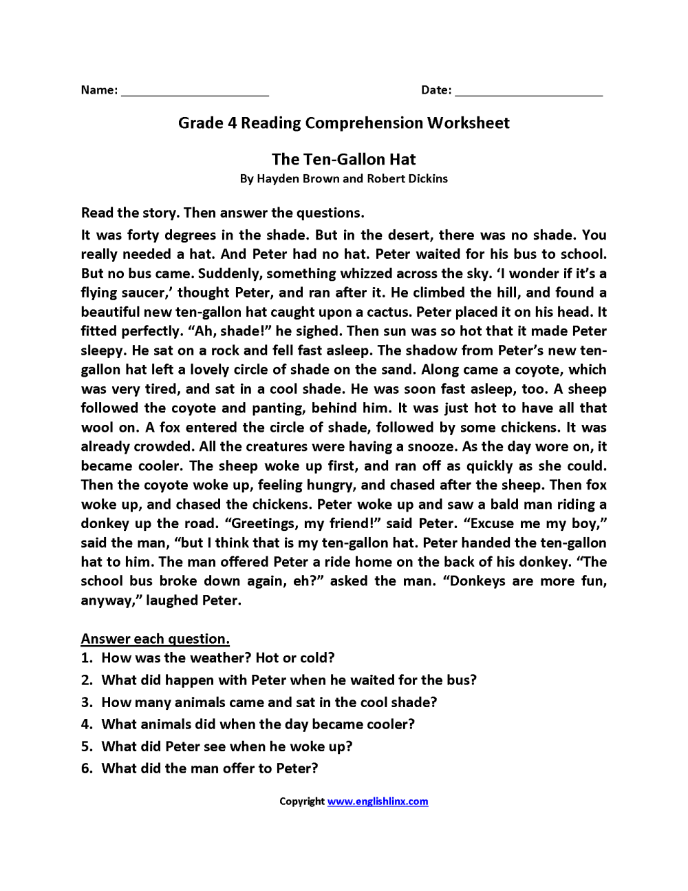 medium resolution of Reading Worksheets   Fourth Grade Reading Worksheets