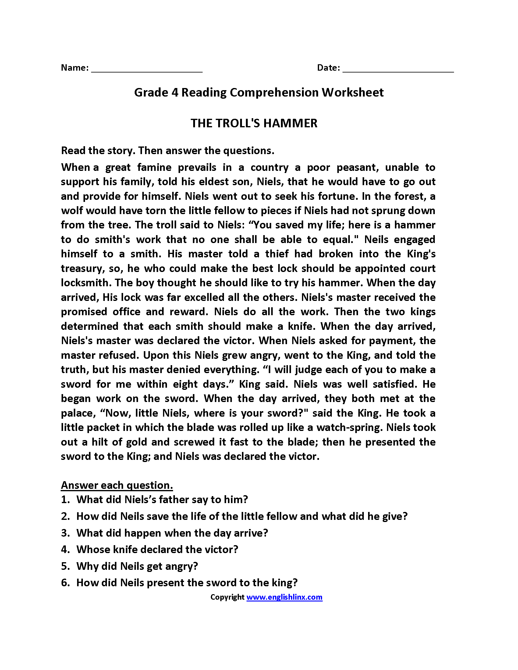 Comprehension Activities For 4th Grade